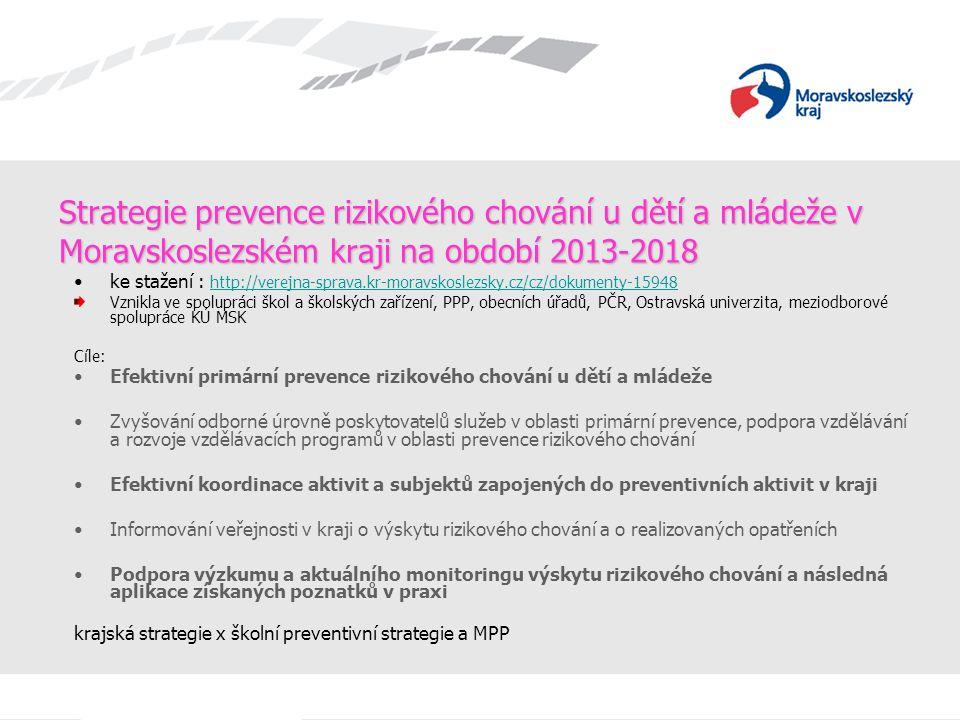 Strategie prevence rizikového chování u dětí a mládeže v Moravskoslezském kraji na období 2013-2018 ke stažení : http://verejna-sprava.kr-moravskoslez