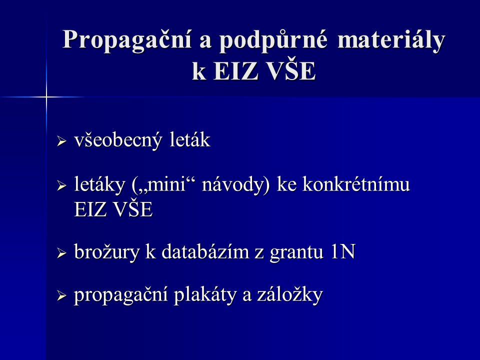 "Propagační a podpůrné materiály k EIZ VŠE  všeobecný leták  letáky (""mini"" návody) ke konkrétnímu EIZ VŠE  brožury k databázím z grantu 1N  propag"