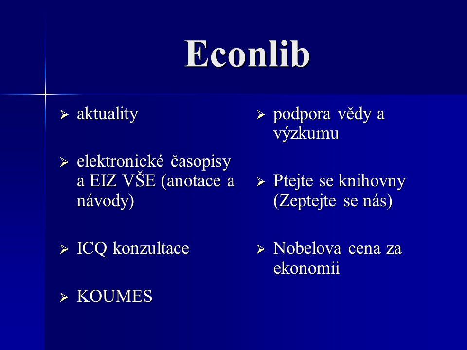 Econlib  aktuality  elektronické časopisy a EIZ VŠE (anotace a návody)  ICQ konzultace  KOUMES  podpora vědy a výzkumu  Ptejte se knihovny (Zept