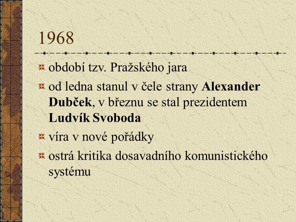 1968 období tzv. Pražského jara od ledna stanul v čele strany Alexander Dubček, v březnu se stal prezidentem Ludvík Svoboda víra v nové pořádky ostrá