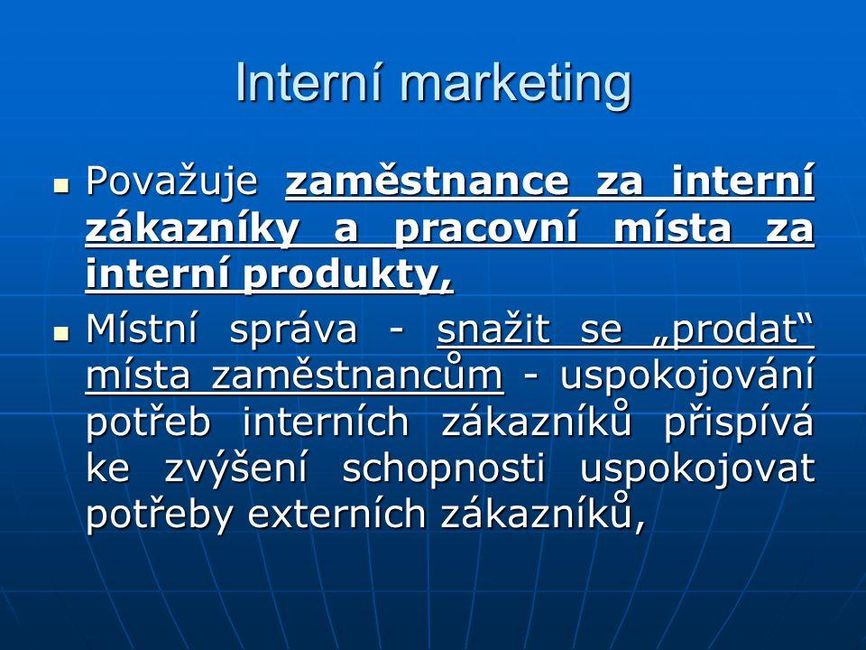 Interní marketing Považuje zaměstnance za interní zákazníky a pracovní místa za interní produkty, Považuje zaměstnance za interní zákazníky a pracovní