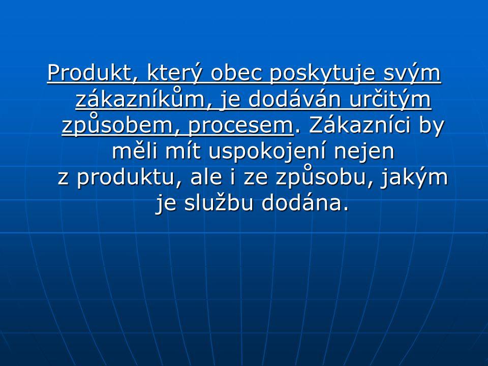 Produkt, který obec poskytuje svým zákazníkům, je dodáván určitým způsobem, procesem. Zákazníci by měli mít uspokojení nejen z produktu, ale i ze způs
