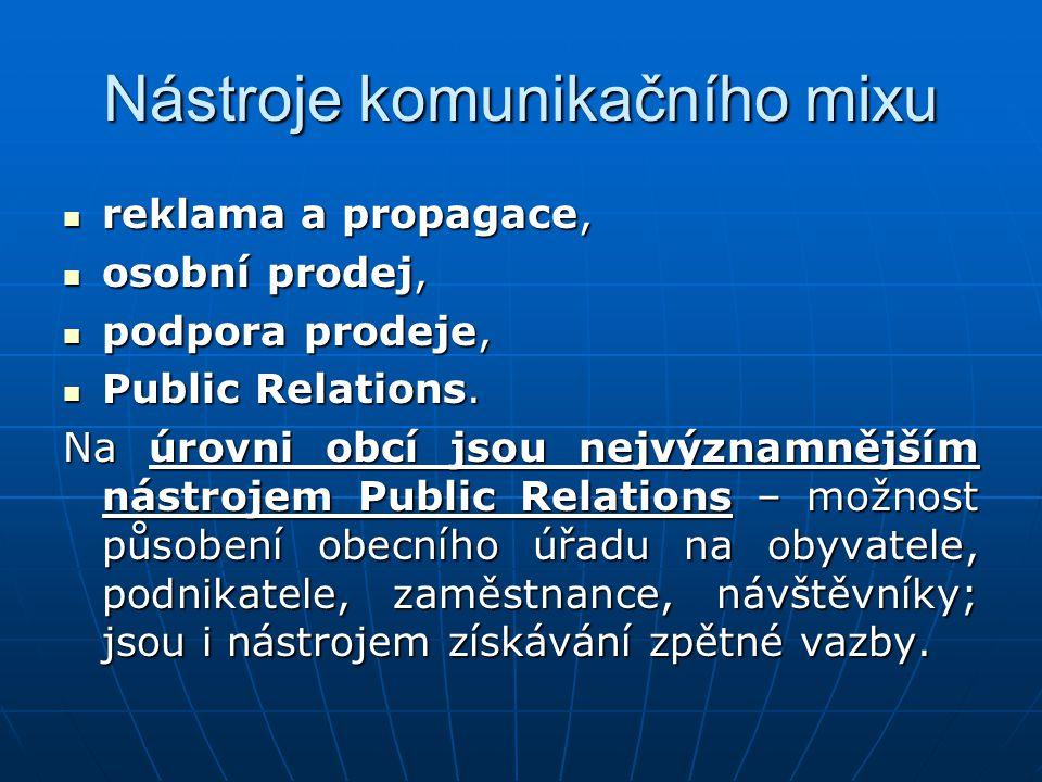 Nástroje komunikačního mixu reklama a propagace, reklama a propagace, osobní prodej, osobní prodej, podpora prodeje, podpora prodeje, Public Relations.