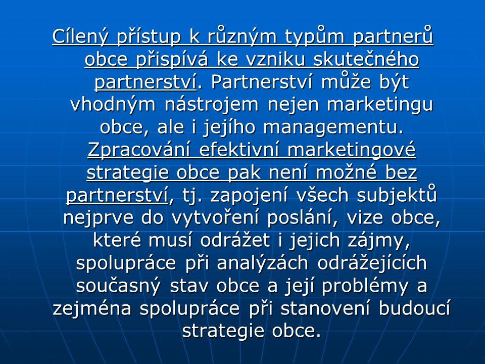 Cílený přístup k různým typům partnerů obce přispívá ke vzniku skutečného partnerství. Partnerství může být vhodným nástrojem nejen marketingu obce, a