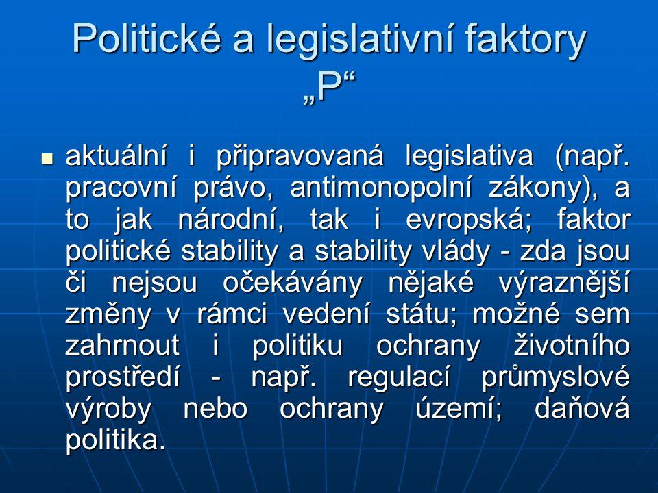 """Politické a legislativní faktory """"P"""" aktuální i připravovaná legislativa (např. pracovní právo, antimonopolní zákony), a to jak národní, tak i evropsk"""