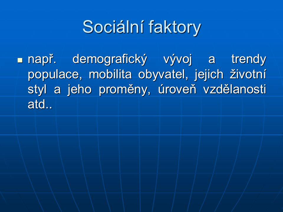 Sociální faktory např. demografický vývoj a trendy populace, mobilita obyvatel, jejich životní styl a jeho proměny, úroveň vzdělanosti atd.. např. dem