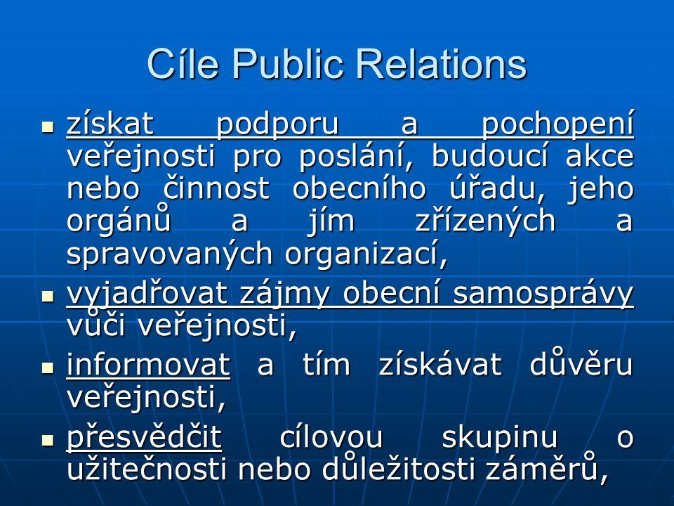 Cíle Public Relations získat podporu a pochopení veřejnosti pro poslání, budoucí akce nebo činnost obecního úřadu, jeho orgánů a jím zřízených a spravovaných organizací, získat podporu a pochopení veřejnosti pro poslání, budoucí akce nebo činnost obecního úřadu, jeho orgánů a jím zřízených a spravovaných organizací, vyjadřovat zájmy obecní samosprávy vůči veřejnosti, vyjadřovat zájmy obecní samosprávy vůči veřejnosti, informovat a tím získávat důvěru veřejnosti, informovat a tím získávat důvěru veřejnosti, přesvědčit cílovou skupinu o užitečnosti nebo důležitosti záměrů, přesvědčit cílovou skupinu o užitečnosti nebo důležitosti záměrů,