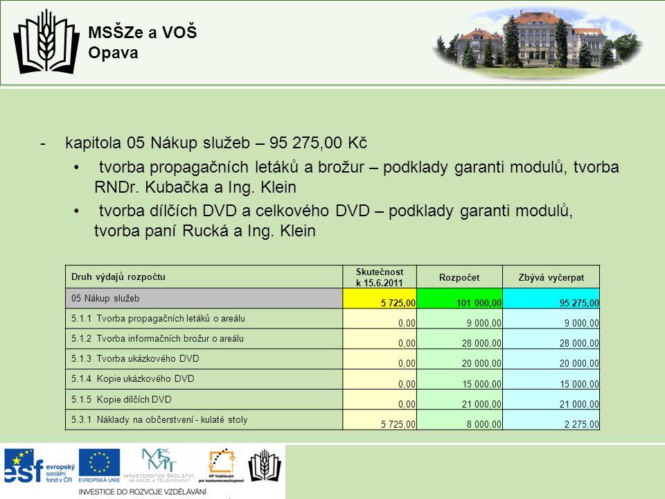 MSŠZe a VOŠ Opava -kapitola 05 Nákup služeb – 95 275,00 Kč tvorba propagačních letáků a brožur – podklady garanti modulů, tvorba RNDr.