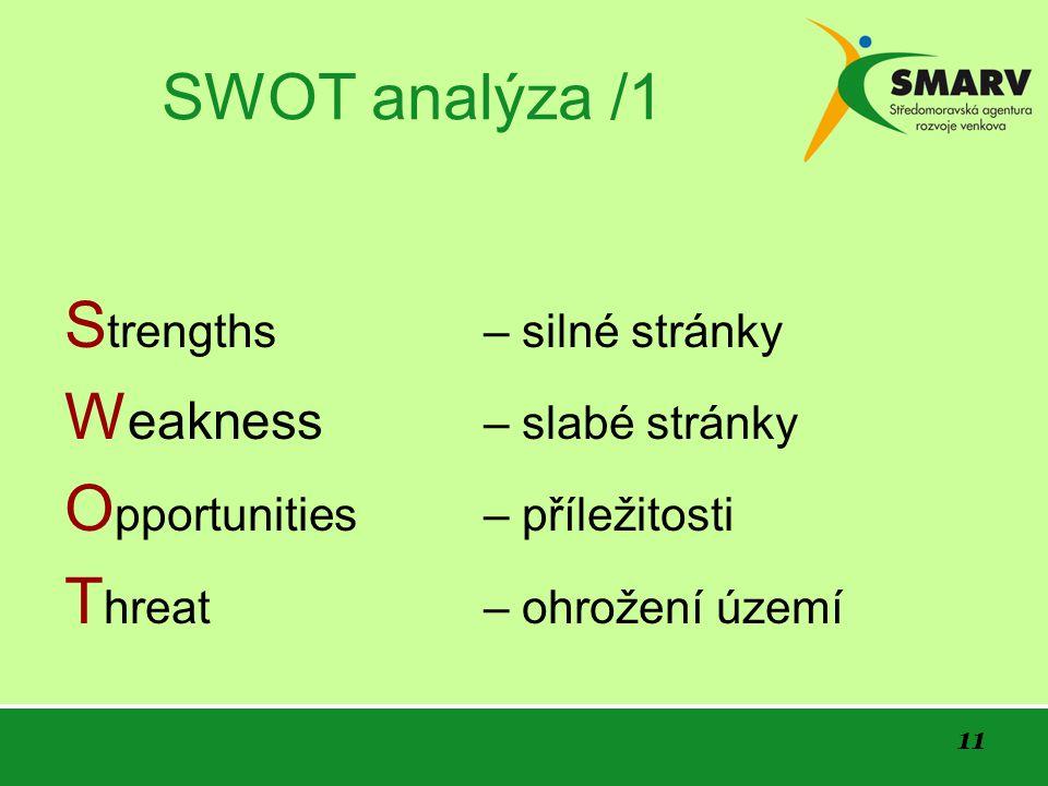 11 SWOT analýza /1 S trengths – silné stránky W eakness – slabé stránky O pportunities – příležitosti T hreat – ohrožení území