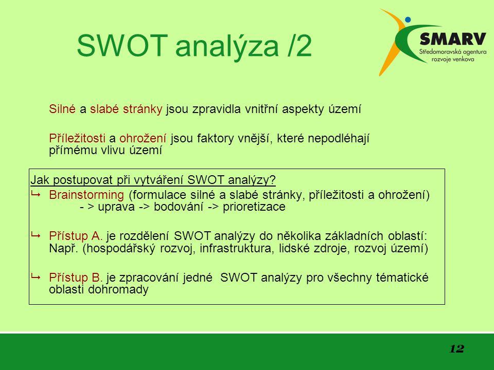 12 SWOT analýza /2 Silné a slabé stránky jsou zpravidla vnitřní aspekty území Příležitosti a ohrožení jsou faktory vnější, které nepodléhají přímému vlivu území Jak postupovat při vytváření SWOT analýzy.