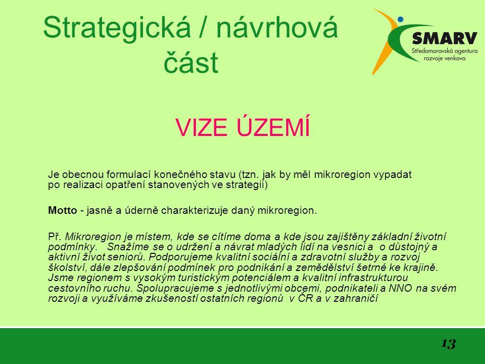 13 Strategická / návrhová část VIZE ÚZEMÍ Je obecnou formulací konečného stavu (tzn.