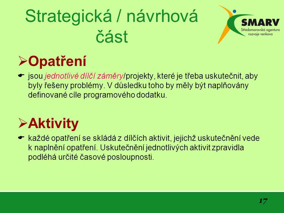 17 Strategická / návrhová část  Opatření  jsou jednotlivé dílčí záměry/projekty, které je třeba uskutečnit, aby byly řešeny problémy.