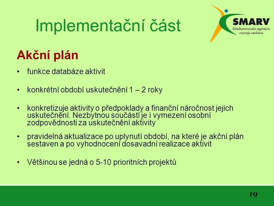 19 Implementační část Akční plán funkce databáze aktivit konkrétní období uskutečnění 1 – 2 roky konkretizuje aktivity o předpoklady a finanční náročnost jejich uskutečnění.