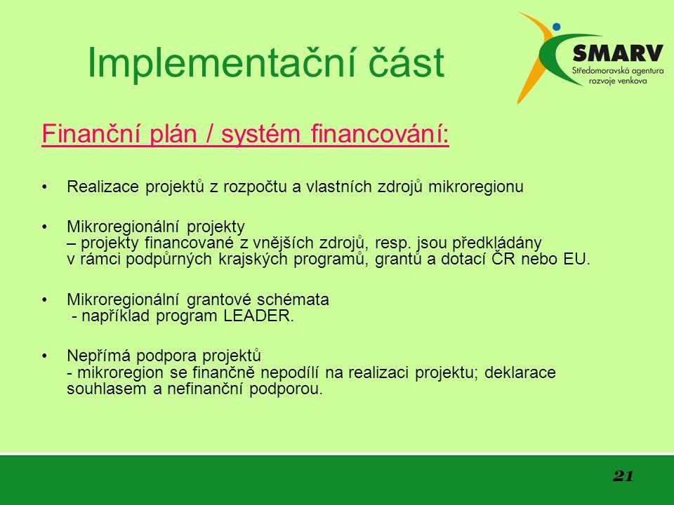 21 Implementační část Finanční plán / systém financování: Realizace projektů z rozpočtu a vlastních zdrojů mikroregionu Mikroregionální projekty – projekty financované z vnějších zdrojů, resp.
