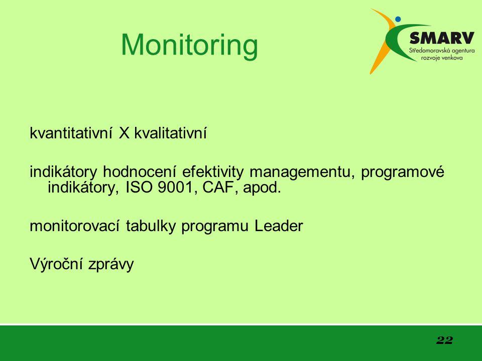 22 Monitoring kvantitativní X kvalitativní indikátory hodnocení efektivity managementu, programové indikátory, ISO 9001, CAF, apod.