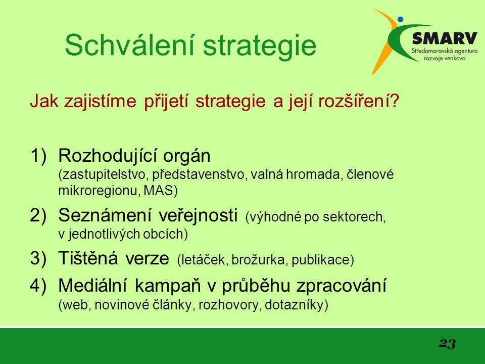 23 Schválení strategie Jak zajistíme přijetí strategie a její rozšíření.