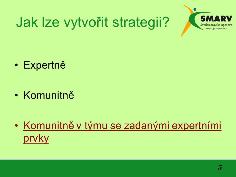 5 Jak lze vytvořit strategii? Expertně Komunitně Komunitně v týmu se zadanými expertními prvky