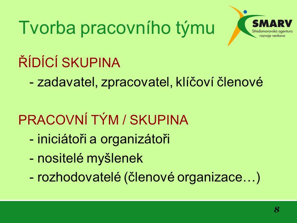 8 Tvorba pracovního týmu ŘÍDÍCÍ SKUPINA - zadavatel, zpracovatel, klíčoví členové PRACOVNÍ TÝM / SKUPINA - iniciátoři a organizátoři - nositelé myšlenek - rozhodovatelé (členové organizace…)