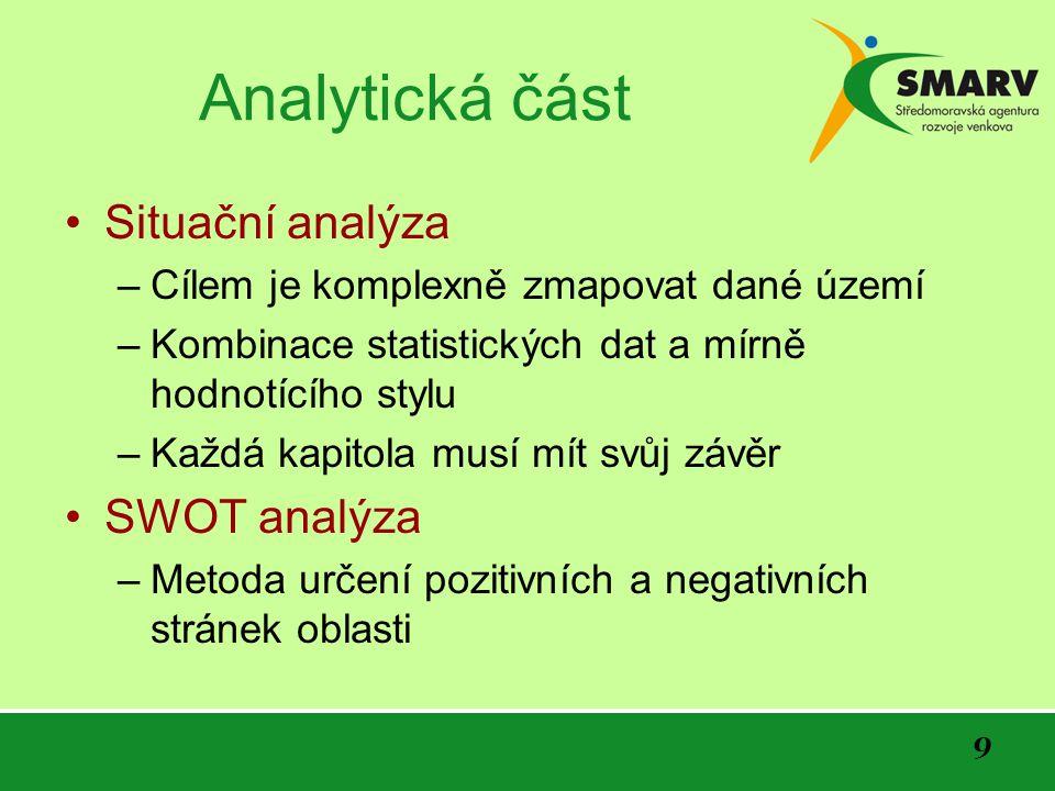9 Analytická část Situační analýza –Cílem je komplexně zmapovat dané území –Kombinace statistických dat a mírně hodnotícího stylu –Každá kapitola musí mít svůj závěr SWOT analýza –Metoda určení pozitivních a negativních stránek oblasti