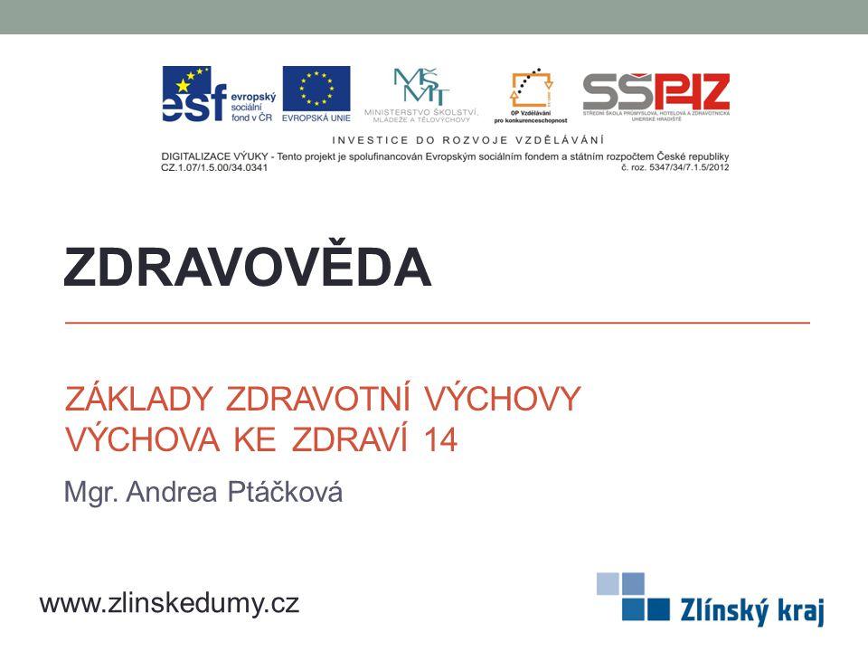 ZÁKLADY ZDRAVOTNÍ VÝCHOVY VÝCHOVA KE ZDRAVÍ 14 Mgr. Andrea Ptáčková ZDRAVOVĚDA www.zlinskedumy.cz