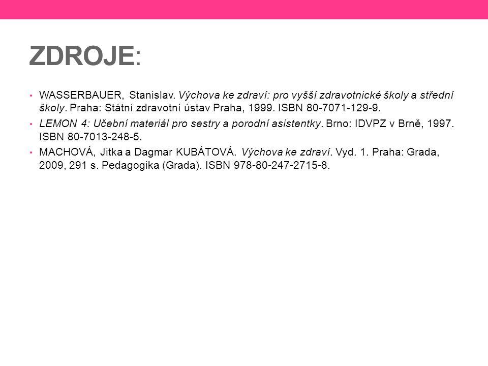 ZDROJE: WASSERBAUER, Stanislav. Výchova ke zdraví: pro vyšší zdravotnické školy a střední školy. Praha: Státní zdravotní ústav Praha, 1999. ISBN 80-70