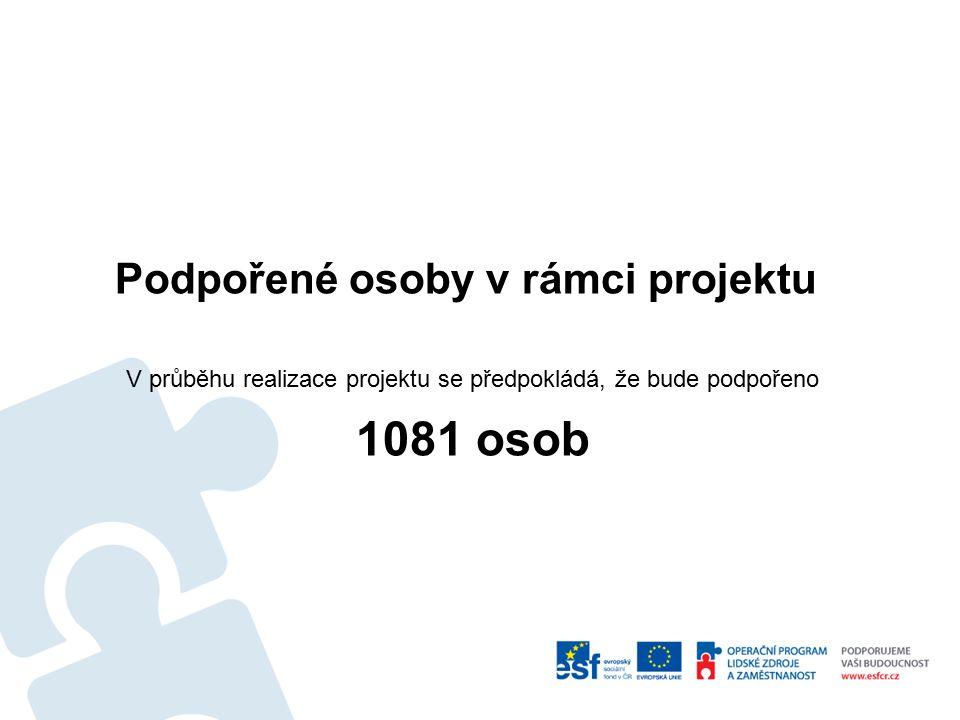 Podpořené osoby v rámci projektu V průběhu realizace projektu se předpokládá, že bude podpořeno 1081 osob