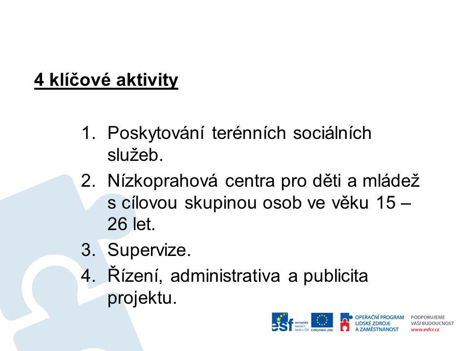 4 klíčové aktivity 1.Poskytování terénních sociálních služeb. 2.Nízkoprahová centra pro děti a mládež s cílovou skupinou osob ve věku 15 – 26 let. 3.S