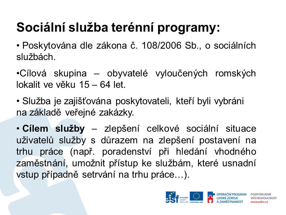 Sociální služba terénní programy: Poskytována dle zákona č. 108/2006 Sb., o sociálních službách. Cílová skupina – obyvatelé vyloučených romských lokal