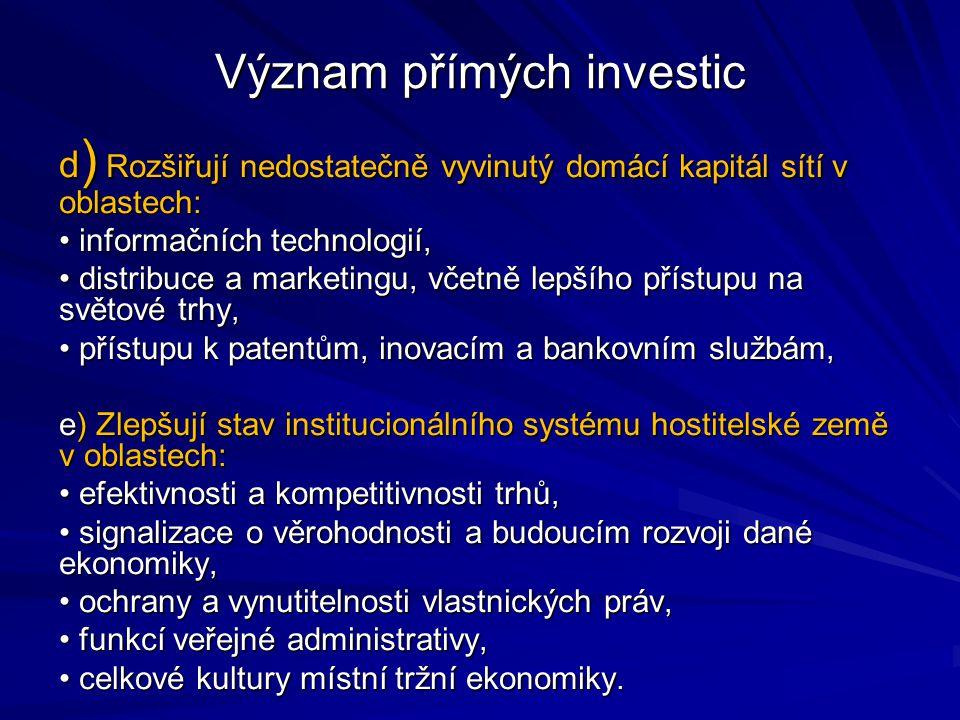 Význam přímých investic d ) Rozšiřují nedostatečně vyvinutý domácí kapitál sítí v oblastech: informačních technologií, informačních technologií, distribuce a marketingu, včetně lepšího přístupu na světové trhy, distribuce a marketingu, včetně lepšího přístupu na světové trhy, přístupu k patentům, inovacím a bankovním službám, přístupu k patentům, inovacím a bankovním službám, e) Zlepšují stav institucionálního systému hostitelské země v oblastech: efektivnosti a kompetitivnosti trhů, efektivnosti a kompetitivnosti trhů, signalizace o věrohodnosti a budoucím rozvoji dané ekonomiky, signalizace o věrohodnosti a budoucím rozvoji dané ekonomiky, ochrany a vynutitelnosti vlastnických práv, ochrany a vynutitelnosti vlastnických práv, funkcí veřejné administrativy, funkcí veřejné administrativy, celkové kultury místní tržní ekonomiky.