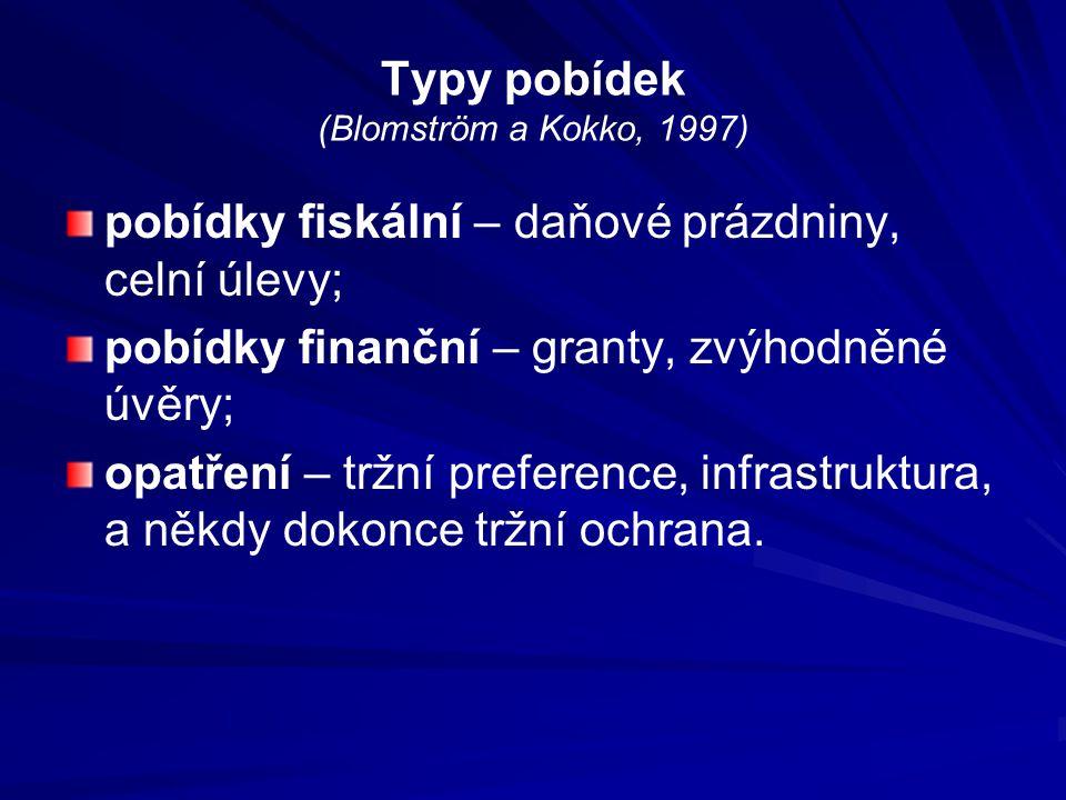 Typy pobídek (Blomström a Kokko, 1997) pobídky fiskální – daňové prázdniny, celní úlevy; pobídky finanční – granty, zvýhodněné úvěry; opatření – tržní preference, infrastruktura, a někdy dokonce tržní ochrana.