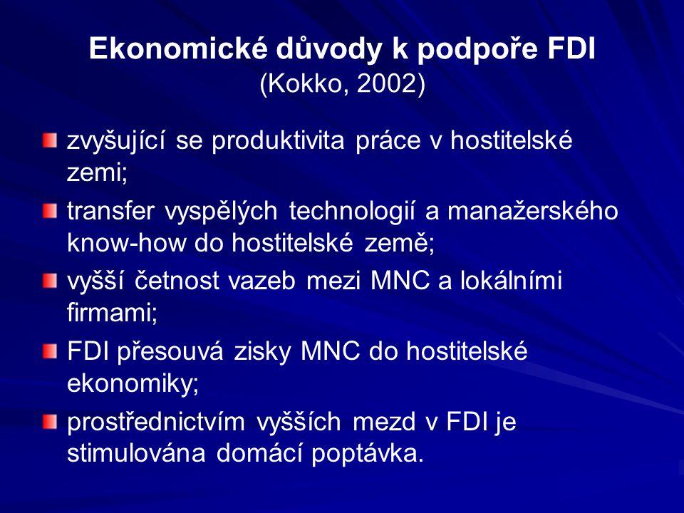 Ekonomické důvody k podpoře FDI (Kokko, 2002) zvyšující se produktivita práce v hostitelské zemi; transfer vyspělých technologií a manažerského know-how do hostitelské země; vyšší četnost vazeb mezi MNC a lokálními firmami; FDI přesouvá zisky MNC do hostitelské ekonomiky; prostřednictvím vyšších mezd v FDI je stimulována domácí poptávka.