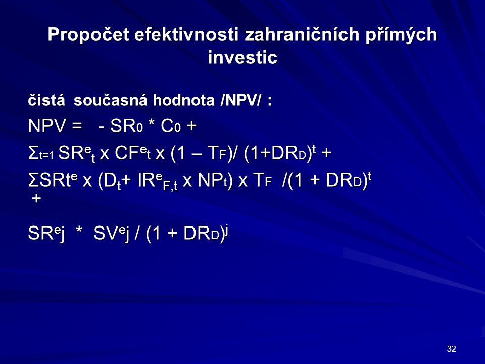 Propočet efektivnosti zahraničních přímých investic čistá současná hodnota /NPV/ : NPV = - SR 0 * C 0 + Σ t=1 SR e t x CF e t x (1 – T F )/ (1+DR D ) t + ΣSRt e x (D t + IR e F,t x NP t ) x T F /(1 + DR D ) t + SR e j * SV e j / (1 + DR D ) j 32