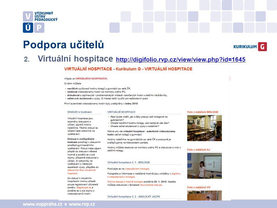 Podpora učitelů 2. Virtuální hospitace http://digifolio.rvp.cz/view/view.php?id=1645 http://digifolio.rvp.cz/view/view.php?id=1645