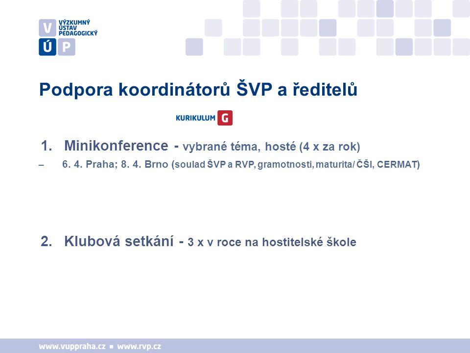 Podpora koordinátorů ŠVP a ředitelů 1.Minikonference - vybrané téma, hosté (4 x za rok) – 6. 4. Praha; 8. 4. Brno ( soulad ŠVP a RVP, gramotnosti, mat