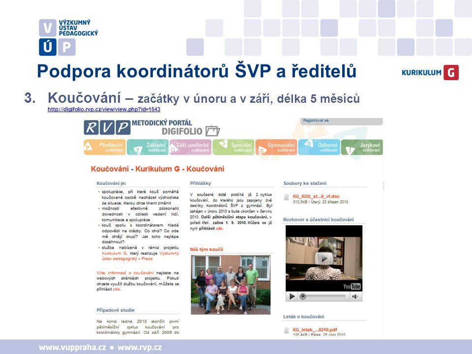 Podpora koordinátorů ŠVP a ředitelů 3.Koučování – začátky v únoru a v září, délka 5 měsíců http://digifolio.rvp.cz/view/view.php?id=1543 http://digifo