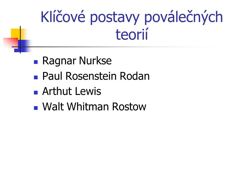 Klíčové postavy poválečných teorií Ragnar Nurkse Paul Rosenstein Rodan Arthut Lewis Walt Whitman Rostow
