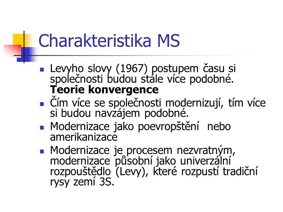 Charakteristika MS Levyho slovy (1967) postupem času si společnosti budou stále více podobné.