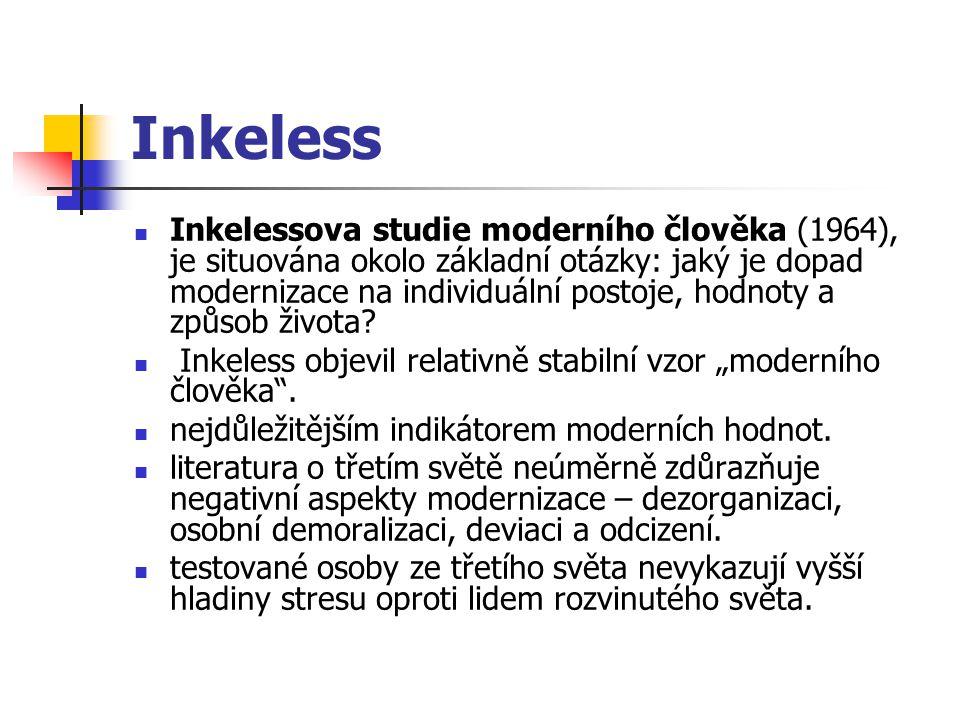 Inkeless Inkelessova studie moderního člověka (1964), je situována okolo základní otázky: jaký je dopad modernizace na individuální postoje, hodnoty a způsob života.