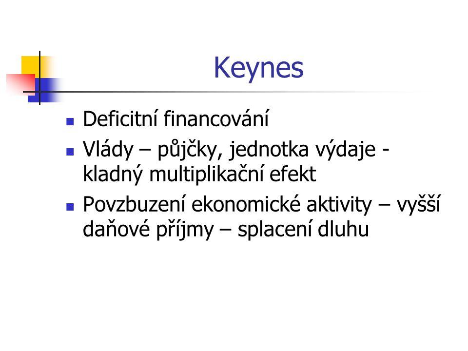 Keynes Deficitní financování Vlády – půjčky, jednotka výdaje - kladný multiplikační efekt Povzbuzení ekonomické aktivity – vyšší daňové příjmy – splacení dluhu