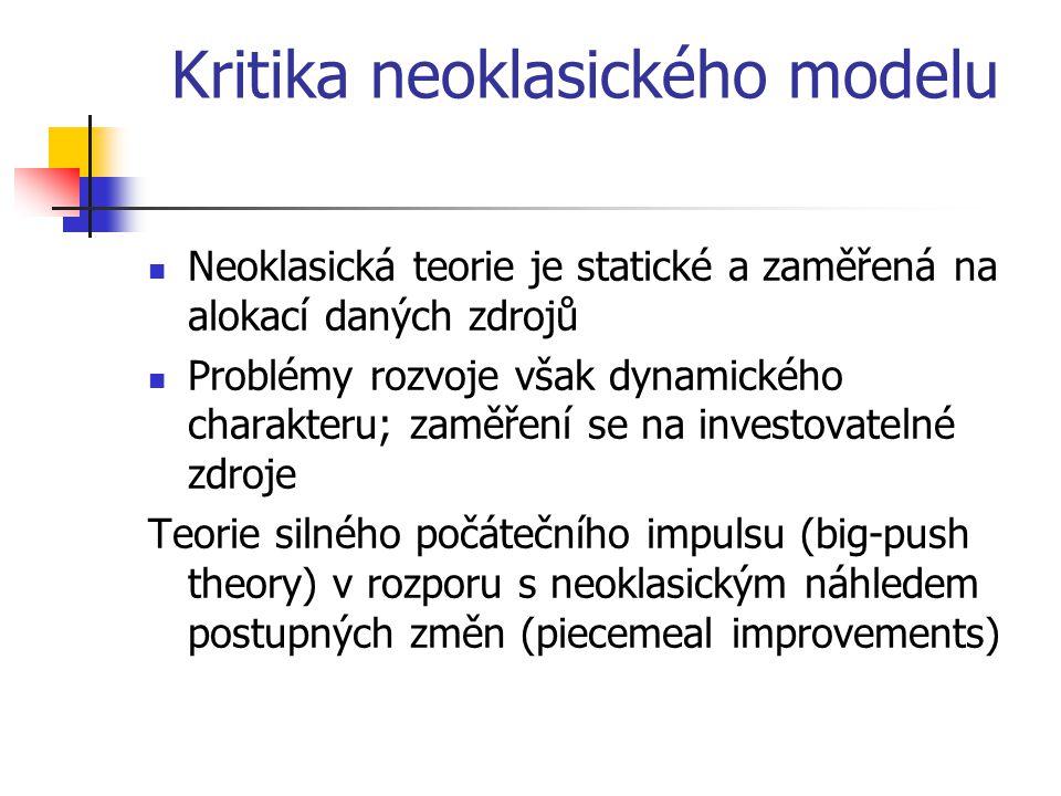 Kritika neoklasického modelu Neoklasická teorie je statické a zaměřená na alokací daných zdrojů Problémy rozvoje však dynamického charakteru; zaměření se na investovatelné zdroje Teorie silného počátečního impulsu (big-push theory) v rozporu s neoklasickým náhledem postupných změn (piecemeal improvements)