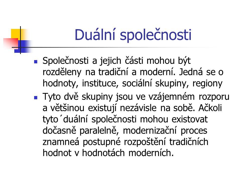 Duální společnosti Společnosti a jejich části mohou být rozděleny na tradiční a moderní.