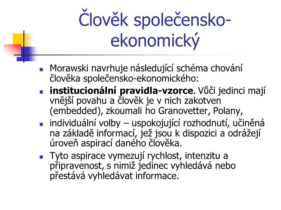 Člověk společensko- ekonomický Morawski navrhuje následující schéma chování člověka společensko-ekonomického: institucionální pravidla-vzorce.