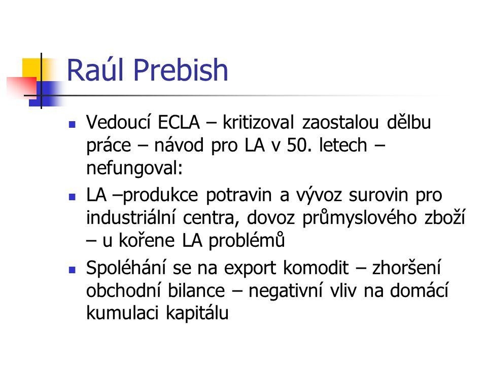 Raúl Prebish Vedoucí ECLA – kritizoval zaostalou dělbu práce – návod pro LA v 50.