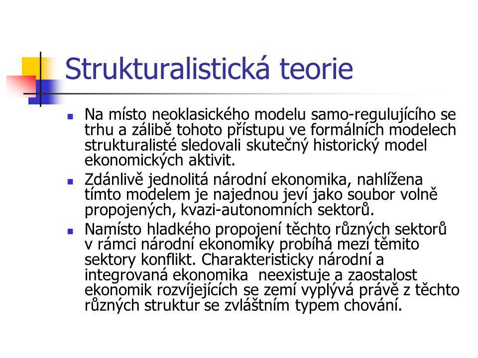 Strukturalistická teorie Na místo neoklasického modelu samo-regulujícího se trhu a zálibě tohoto přístupu ve formálních modelech strukturalisté sledovali skutečný historický model ekonomických aktivit.