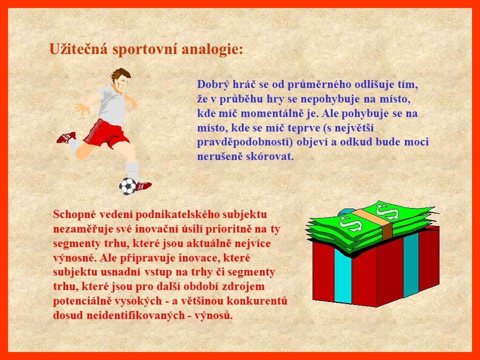 Užitečná sportovní analogie: Dobrý hráč se od průměrného odlišuje tím, že v průběhu hry se nepohybuje na místo, kde míč momentálně je. Ale pohybuje se