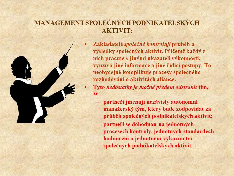 MANAGEMENT SPOLEČNÝCH PODNIKATELSKÝCH AKTIVIT: Zakladatelé společně kontrolují průběh a výsledky společných aktivit. Přičemž každý z nich pracuje s ji
