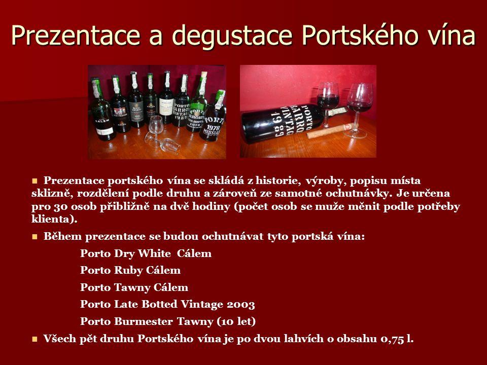 Prezentace a degustace Portského vína Prezentace portského vína se skládá z historie, výroby, popisu místa sklizně, rozdělení podle druhu a zároveň ze samotné ochutnávky.
