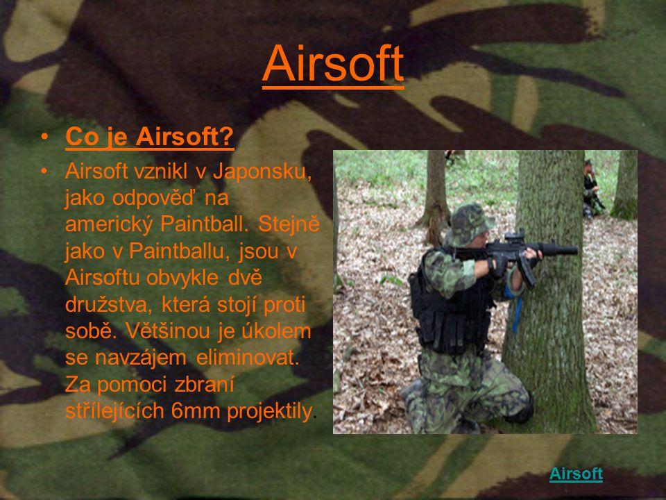 Airsoft Co je Airsoft? Airsoft vznikl v Japonsku, jako odpověď na americký Paintball. Stejně jako v Paintballu, jsou v Airsoftu obvykle dvě družstva,