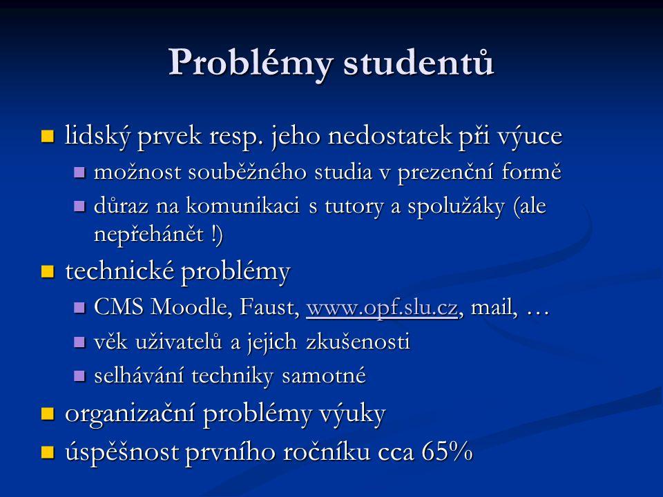 Problémy studentů lidský prvek resp. jeho nedostatek při výuce lidský prvek resp. jeho nedostatek při výuce možnost souběžného studia v prezenční form