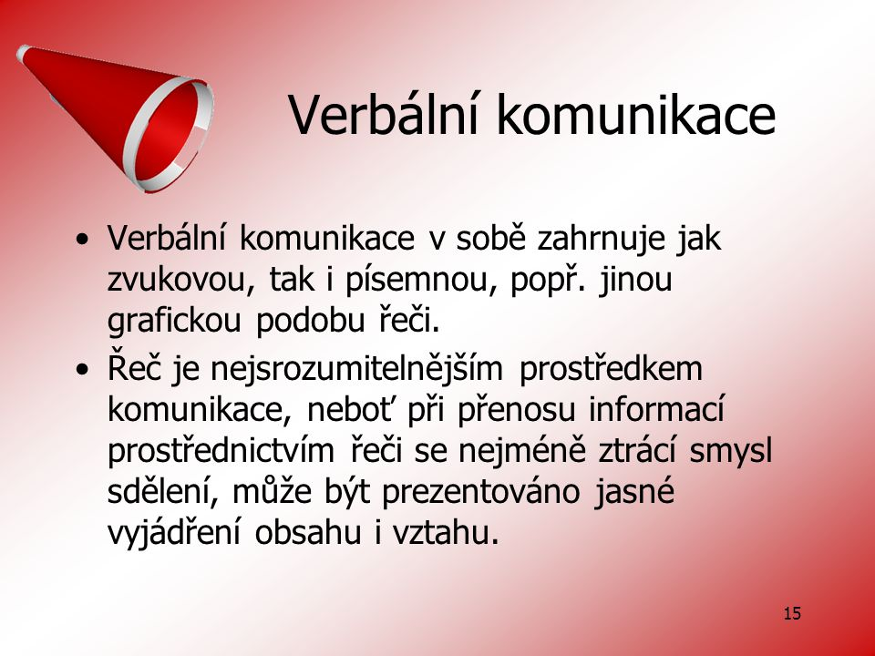 15 Verbální komunikace Verbální komunikace v sobě zahrnuje jak zvukovou, tak i písemnou, popř.